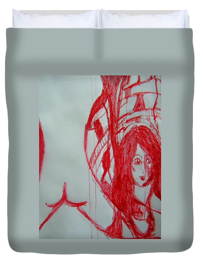 Abstract Duvet Cover featuring the painting My Boyfriends Back And I Missed The Bus Again by Judith Redman