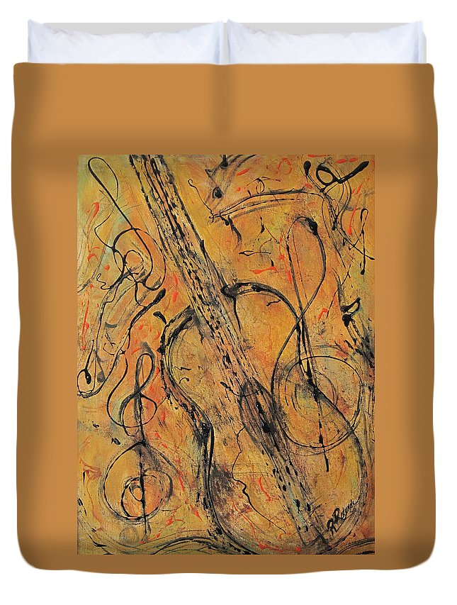 Guitar Duvet Cover featuring the painting My Brother's Guitar by Roberta Rotunda