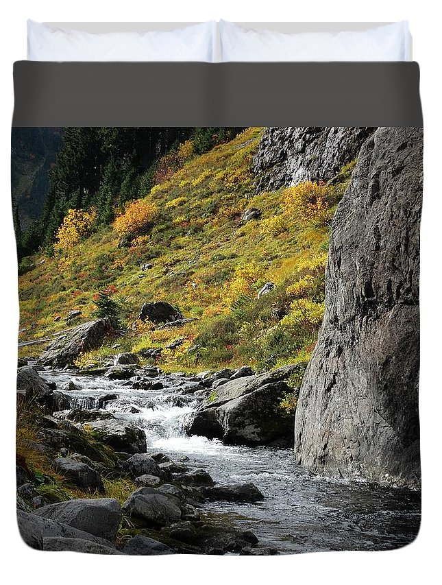 Stream.falls Duvet Cover featuring the photograph My Calm Place by Sandra Peery
