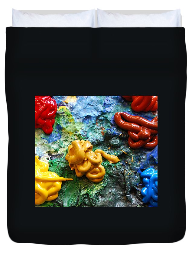 Palette Duvet Cover featuring the photograph My Colorful Palette by Nancy Mueller