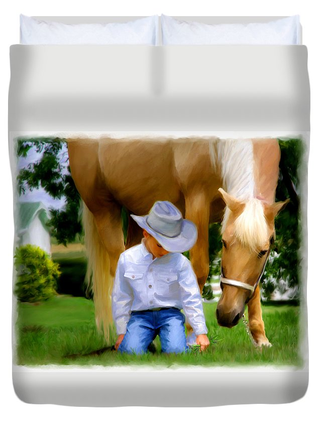Children Portraits In A Watercolor Presentation. Children & Horses. A Boy And His Pony Duvet Cover featuring the photograph My Companion by Linda Houston