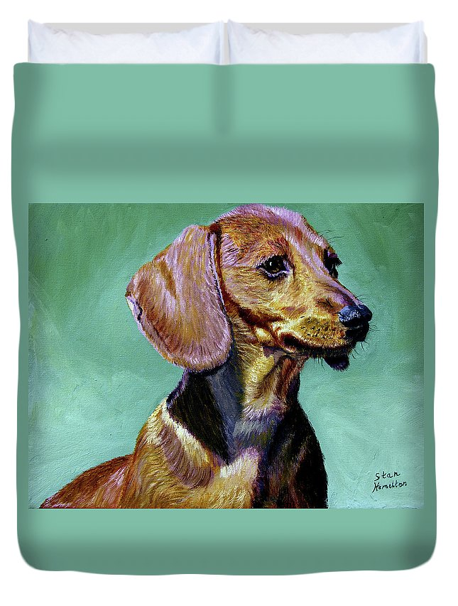 Daschund Duvet Cover featuring the painting My Daschund by Stan Hamilton