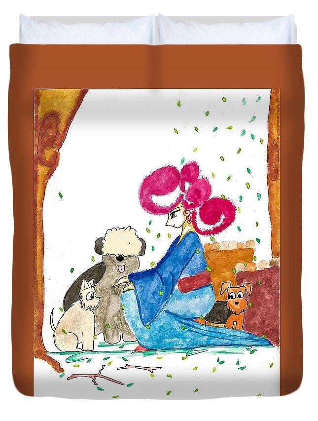 Art Duvet Cover featuring the painting My Dog by Earl Joseph Sinajon