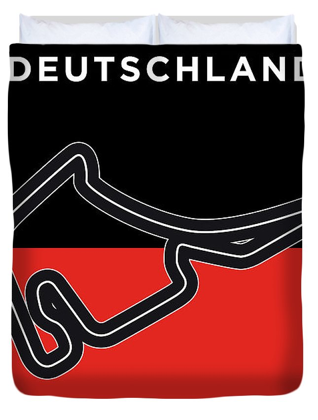 Minimal Duvet Cover featuring the digital art My F1 Germany Race Track Minimal Poster by Chungkong Art