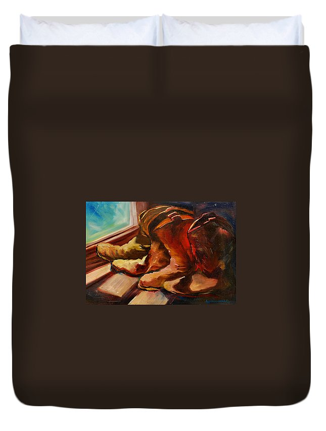 Boots Duvet Cover featuring the painting My Favorite Boots by Diane Whitehead