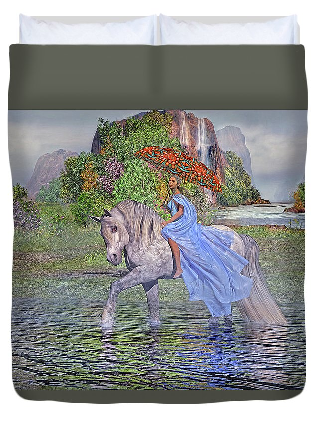 Horse Duvet Cover featuring the digital art My Favorite Time Of The Day by Betsy Knapp
