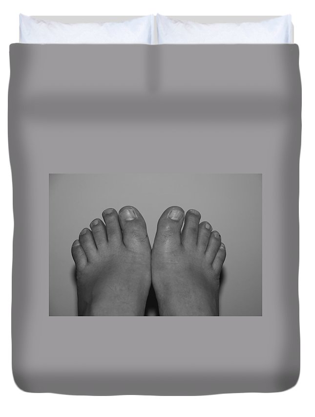 Pop Art Duvet Cover featuring the photograph My Feet By Hans by Rob Hans