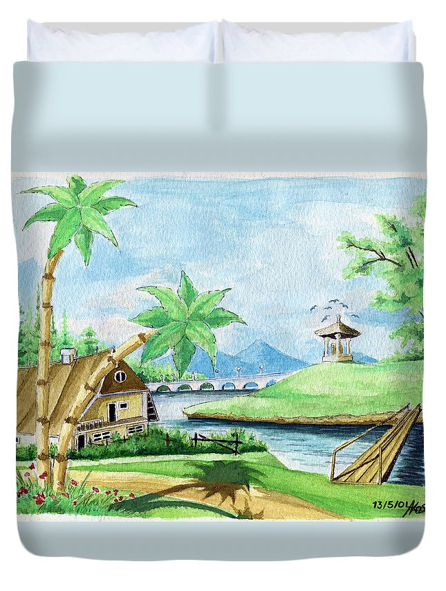 Landscape Duvet Cover featuring the painting My First Landscape Watercolor Painting At The Age Of 18 by Alban Dizdari