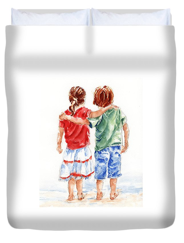 Watercolour Duvet Cover featuring the painting My Friend by Stephie Butler