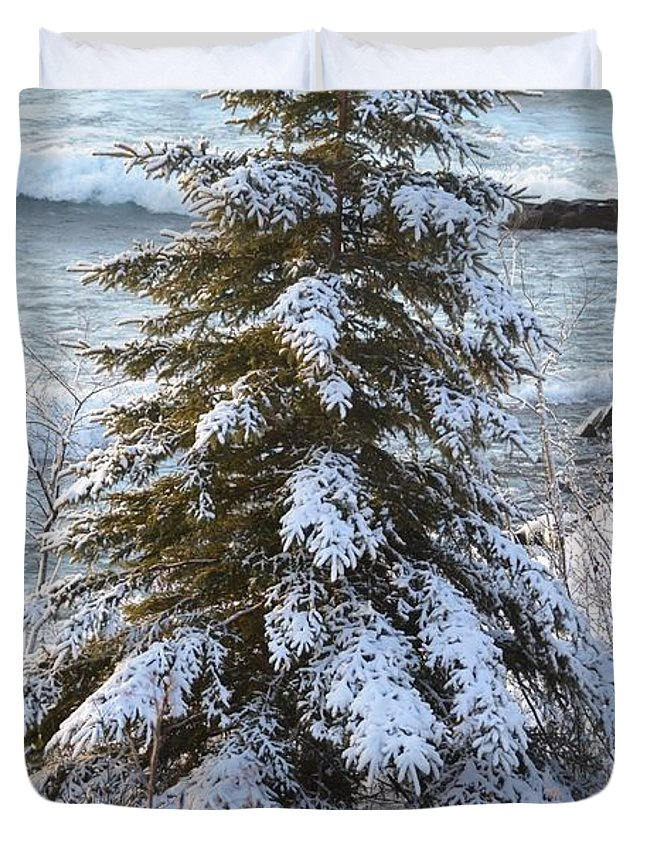 Lake Superior Duvet Cover featuring the photograph My Front Yard by Hella Buchheim