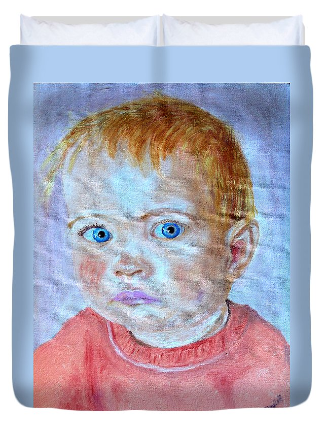 Leonie Duvet Cover featuring the painting My Granddaughter Leonie by Helmut Rottler
