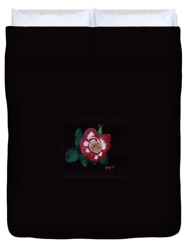 Rose Duvet Cover featuring the pastel My Grandma's Rose by Mendy Pedersen