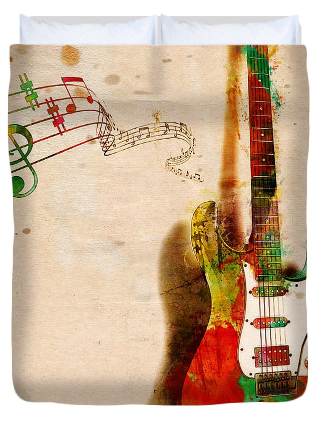 Guitar Duvet Cover featuring the digital art My Guitar Can SING by Nikki Smith