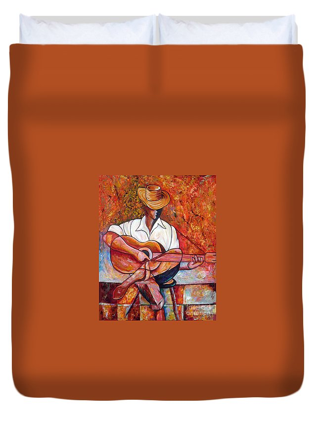 Cuba Art Duvet Cover featuring the painting My Guitar by Jose Manuel Abraham