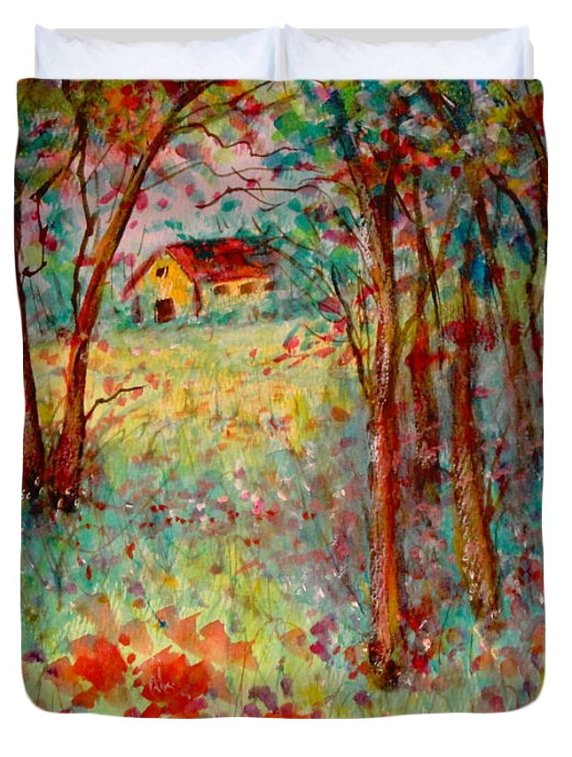 Nature Duvet Cover featuring the painting My Heavenly Hideout by Natalie Holland