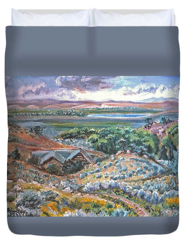 Landscape Duvet Cover featuring the painting My Home Looking West by Dawn Senior-Trask