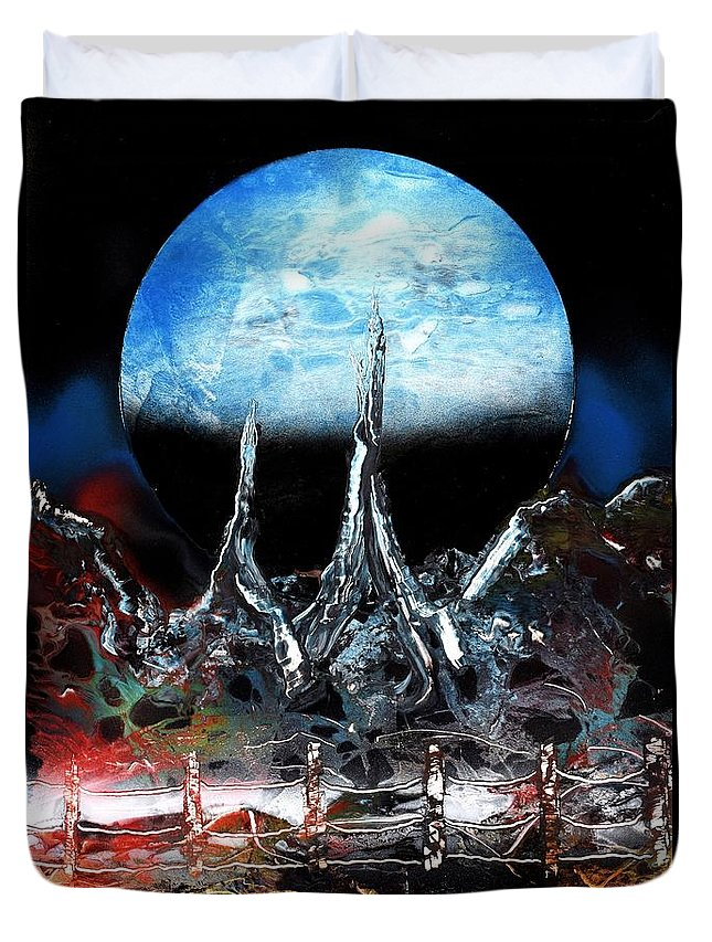 Fantasy Duvet Cover featuring the painting My Home by Nandor Molnar