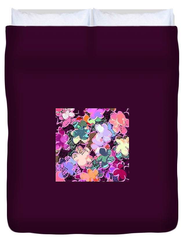 Abstract Duvet Cover featuring the digital art My Little World by Rachel Christine Nowicki