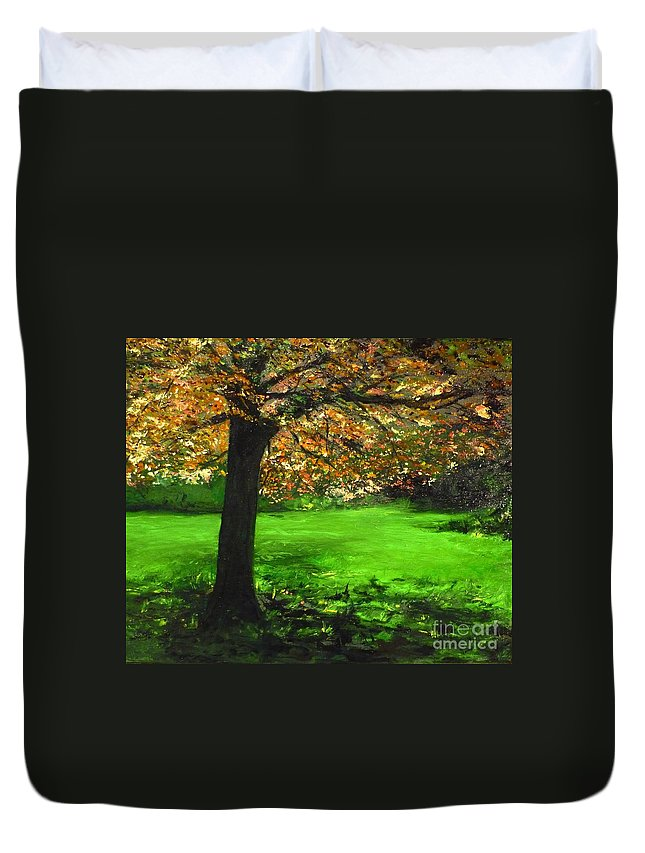 Spiritualism Duvet Cover featuring the painting My Love Of Trees I by Lizzy Forrester
