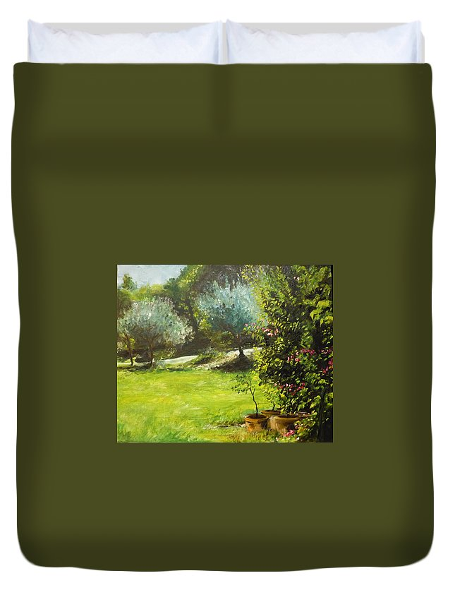 Green Duvet Cover featuring the painting My Love Of Trees IIi by Lizzy Forrester