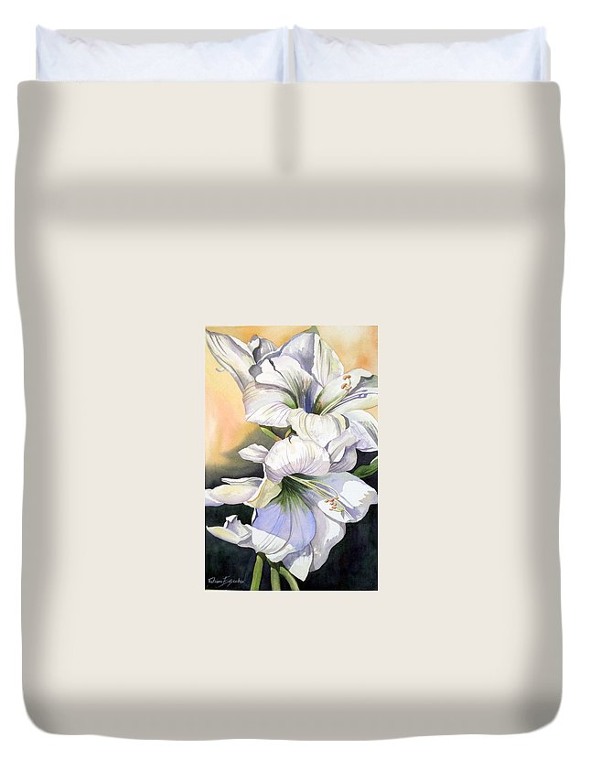 Flower Duvet Cover featuring the painting My Love by Tatiana Escobar