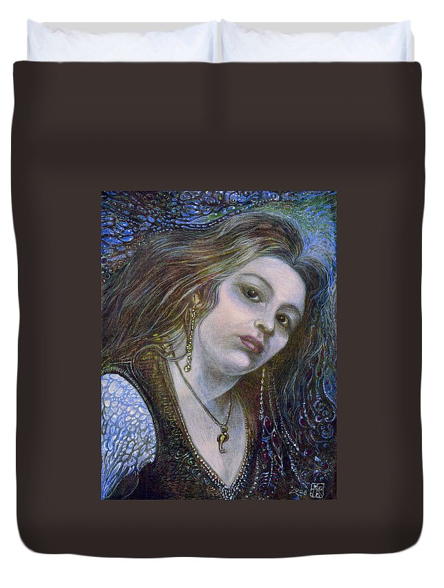 Fantasy Duvet Cover featuring the painting My Mermaid Christan by Otto Rapp