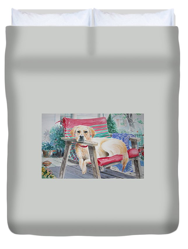 Dogs Duvet Cover featuring the painting My Molly by Tom Harris