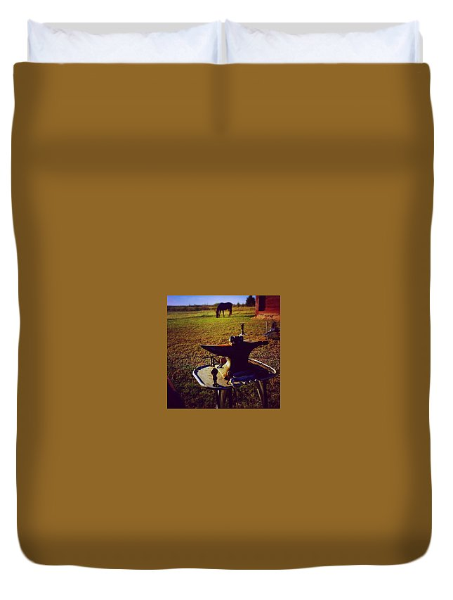 Horse Duvet Cover featuring the photograph My Office by Cheyene Vandament
