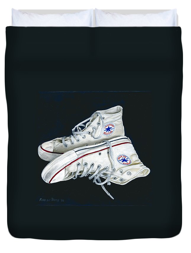 All Stars Duvet Cover featuring the painting My Old All Stars by Rob De Vries