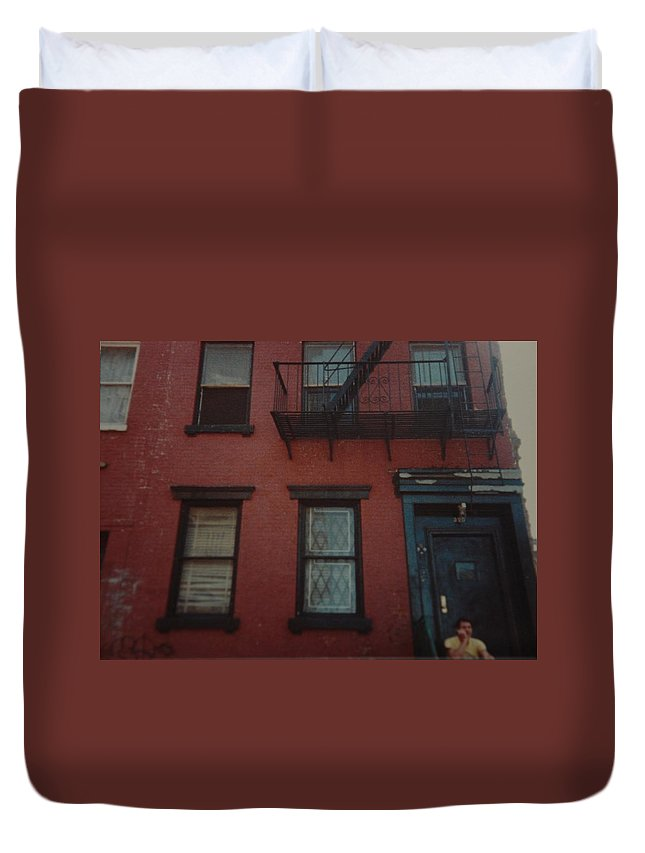 Lower East Side Duvet Cover featuring the photograph My Pops First Home In The United States by Rob Hans