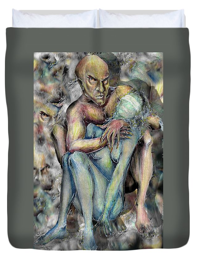 Demons Love Passion Control Posession Woman Lust Duvet Cover featuring the mixed media My Precious by Veronica Jackson