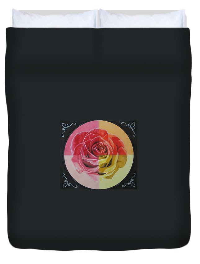 Rose Duvet Cover featuring the painting My Rose by Lynet McDonald