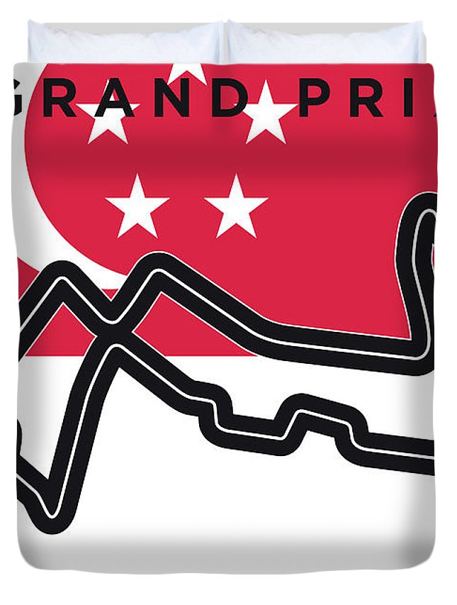 Singapore Duvet Cover featuring the digital art My Singapore Grand Prix Minimal Poster by Chungkong Art