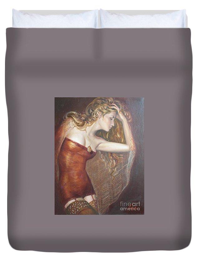 Ignatenko Duvet Cover featuring the painting My Talisman by Sergey Ignatenko