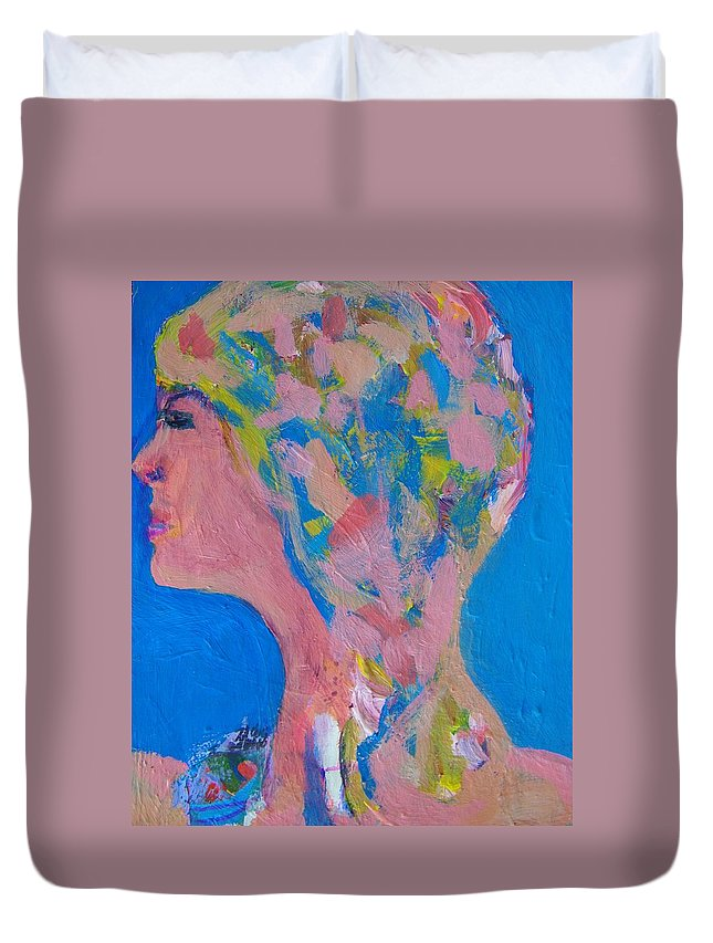 Abstract Duvet Cover featuring the painting My Teacher--psychological Child Abuser by Judith Redman