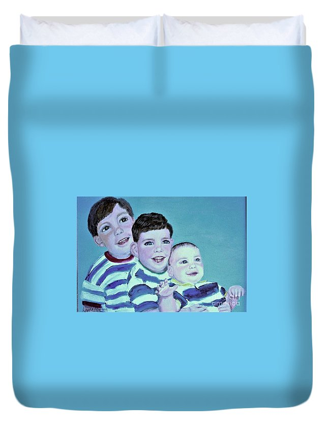 Children Duvet Cover featuring the painting My Three Sons by Laurie Morgan