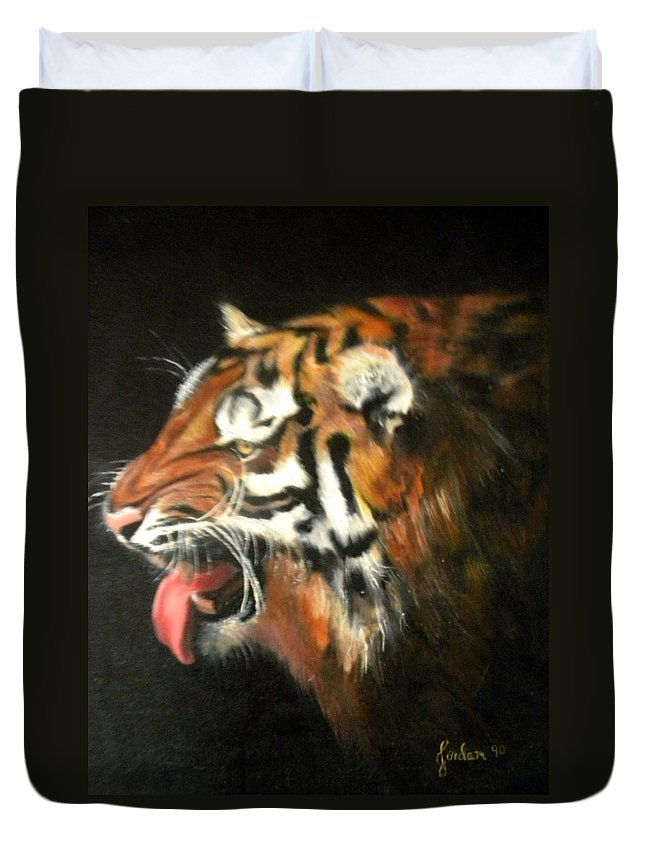 Tiger Duvet Cover featuring the painting My Tiger - The Year Of The Tiger by Jordana Sands