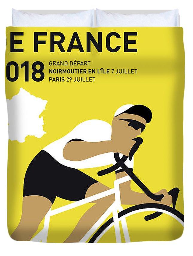 2018 Duvet Cover featuring the digital art My Tour De France Minimal Poster 2018 by Chungkong Art