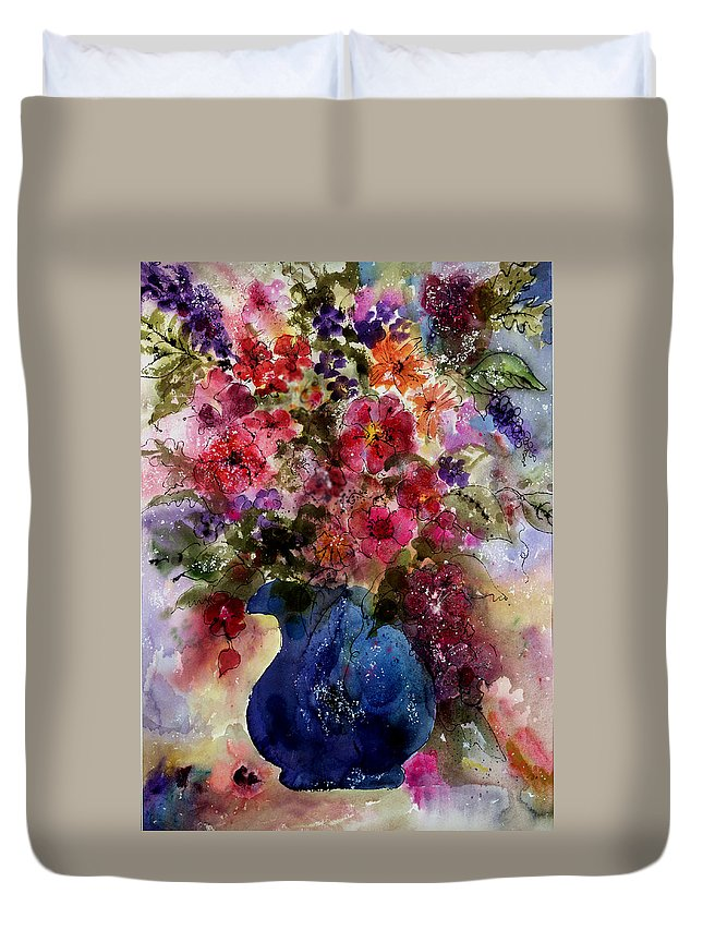 Floral Duvet Cover featuring the painting My Wildflowers by Barbara Colangelo