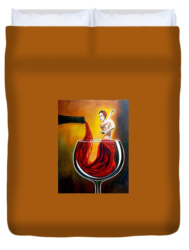 Wine Duvet Cover featuring the painting My Wine Lady by Jose Manuel Abraham