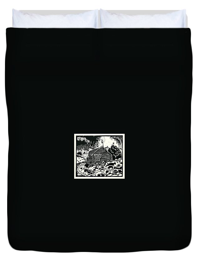Log Cabin Duvet Cover featuring the drawing My Wyoming Cabin In Winter by Dawn Senior-Trask