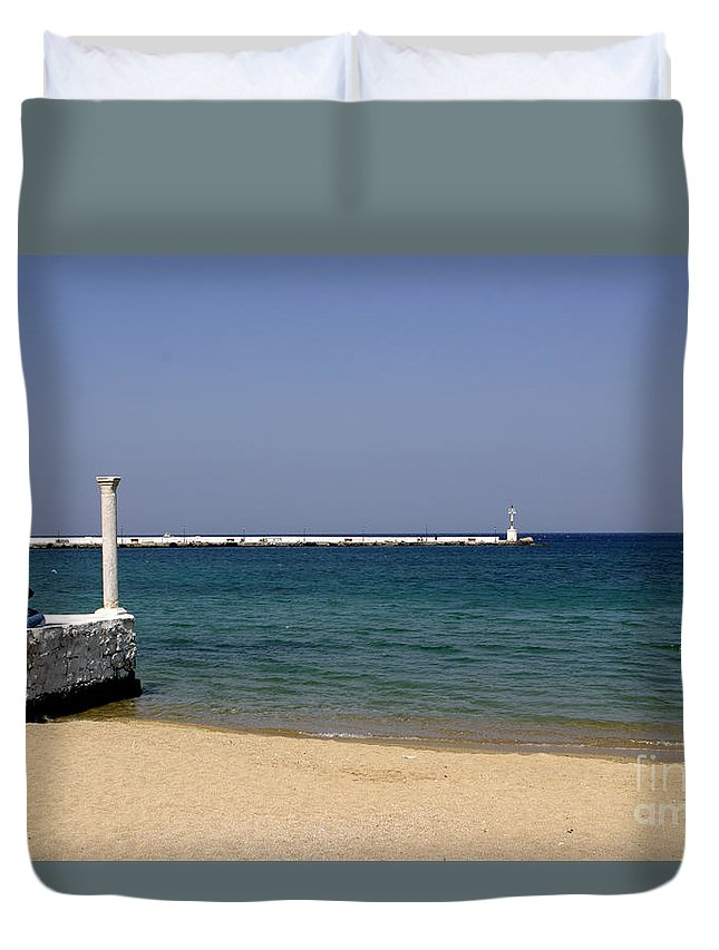 Mykonos Duvet Cover featuring the photograph Mykonos Lookout by Madeline Ellis