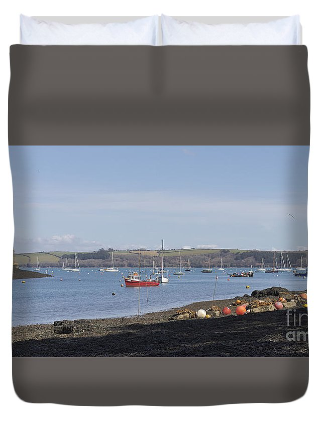 Water Duvet Cover featuring the photograph Mylor Creek Panorama by Terri Waters