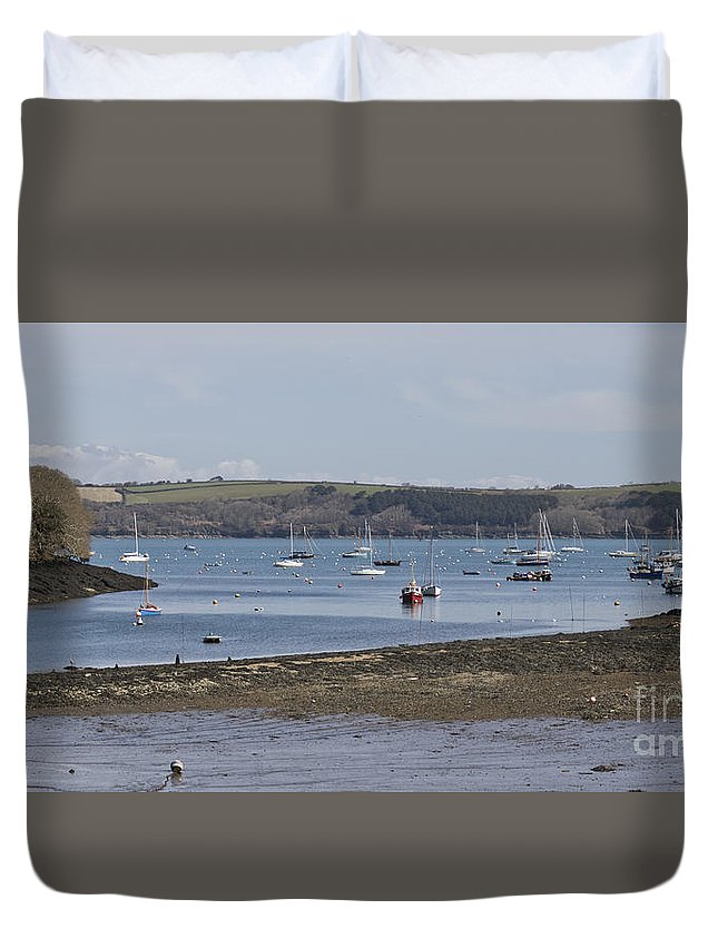 Water Duvet Cover featuring the photograph Mylor Panorama by Terri Waters