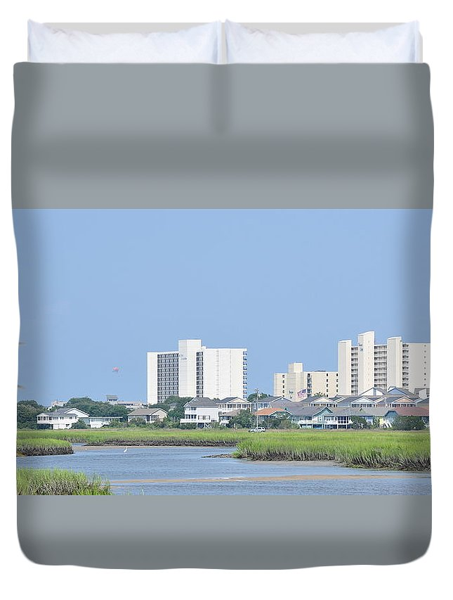 River Duvet Cover featuring the photograph Myrtle Beach Hotels by Wayne Marsh