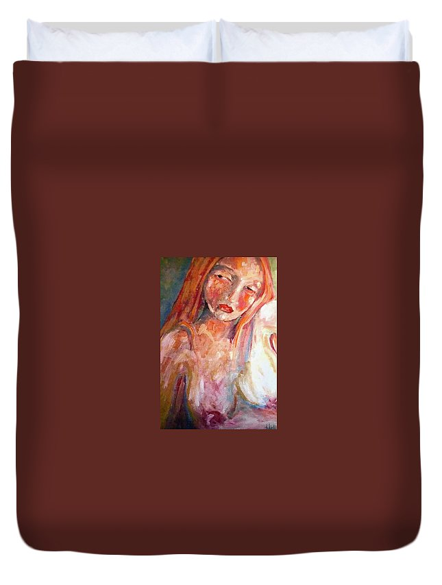 Nude Painting Duvet Cover featuring the painting Myself by Heather Roddy