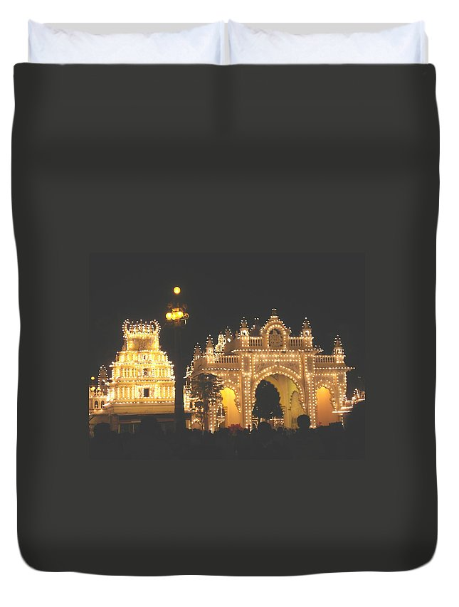 Mysore Duvet Cover featuring the painting Mysore Palace Main Gate Temple Gloriously Lit At Night by Usha Shantharam