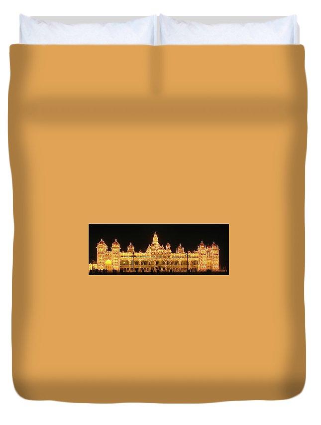 Mysore Duvet Cover featuring the photograph Mysore Palace by Sandeep Gangadharan