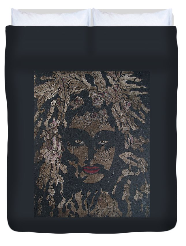 Figurative Duvet Cover featuring the painting Mysterious Desire by Natalie Holland