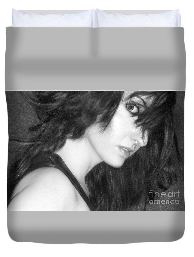 Alluring Duvet Cover featuring the photograph Mystery - Self Portrait by Jaeda DeWalt
